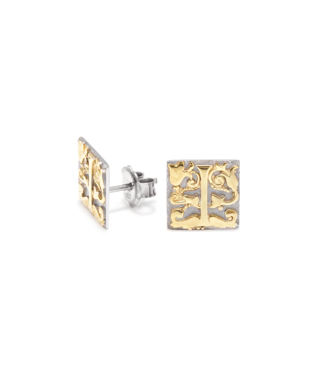 iKuria: Alchemist's initial stud earrings - Hiphunters Shop