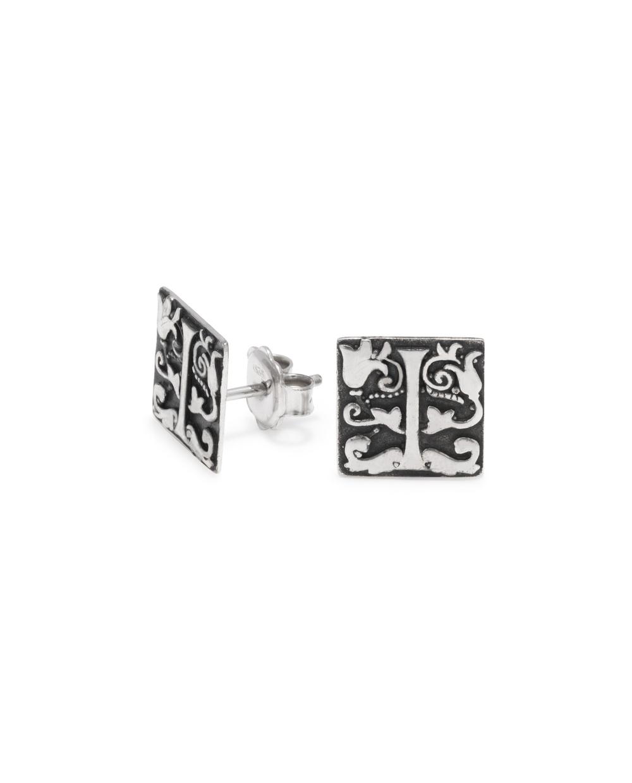 iKuria: Alchemist's Initial stud earrings silver - Hiphunters Shop