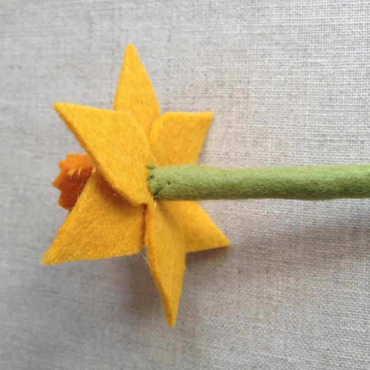 Sew flower onto stem