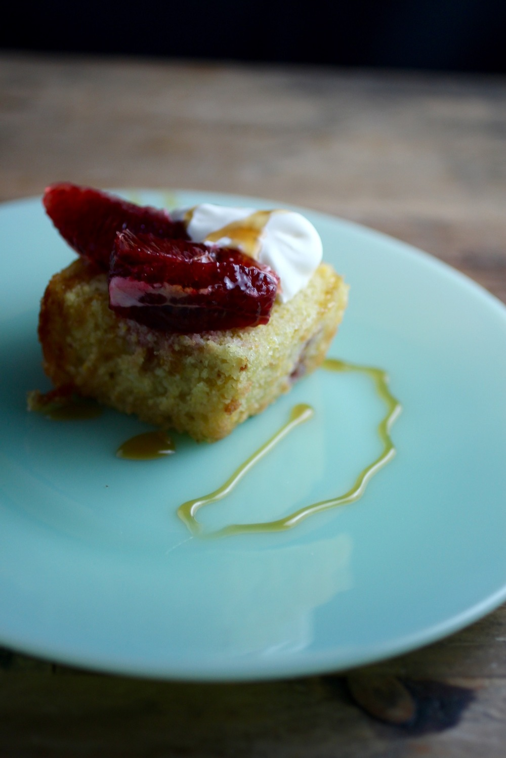 Olive oil cornmeal cake with blood orange and honey — Rooted Food