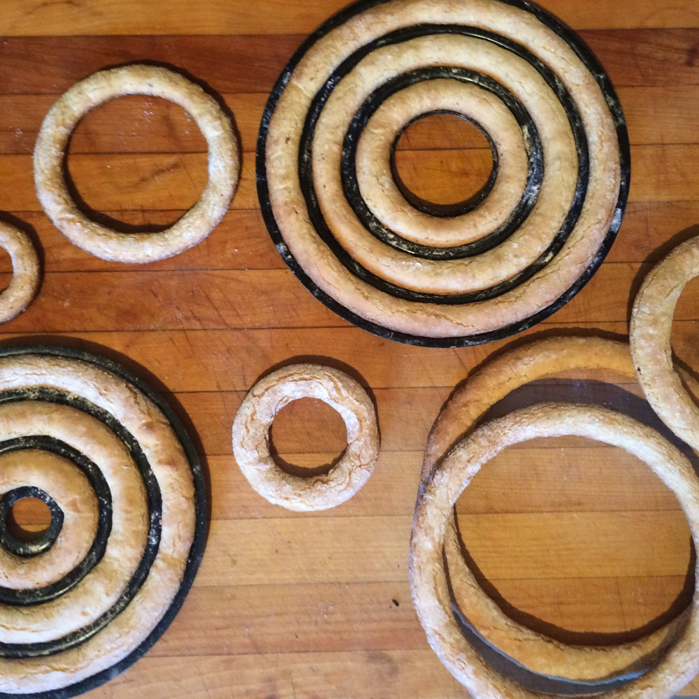 Almond-cardamom cake rings fresh from the oven.