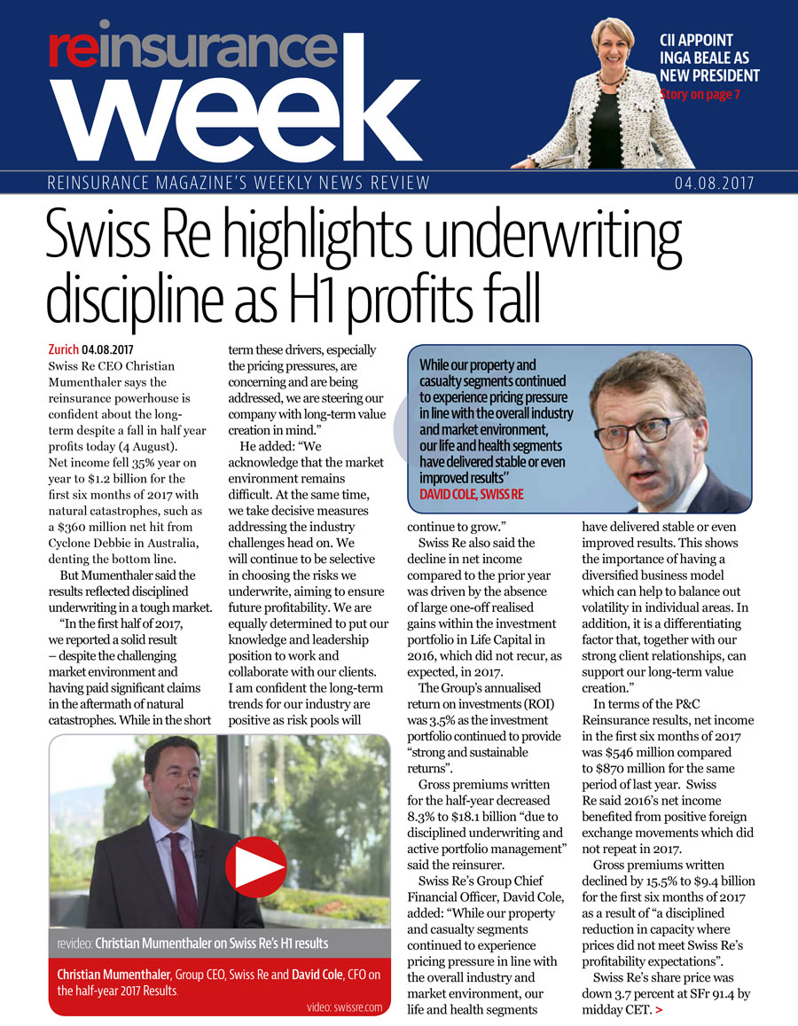 Click here for the current issue of Reinsurance Week