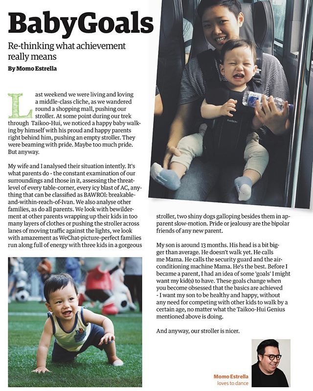 Another short piece I wrote last month. This time r fleeting on the anxiety of parenting when it comes to baby goals.