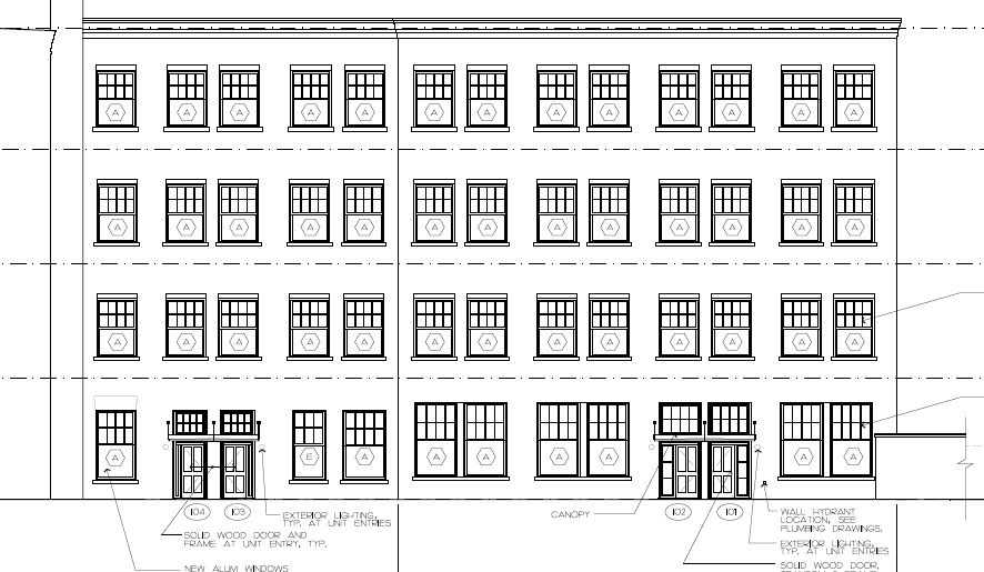 An elevation of the Main Mill building. One of the first pieces of work to be done is ordering the windows so that we can close in the building for the winter.