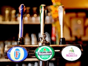 Lager and cider on tap at The Crescent Pub Salford