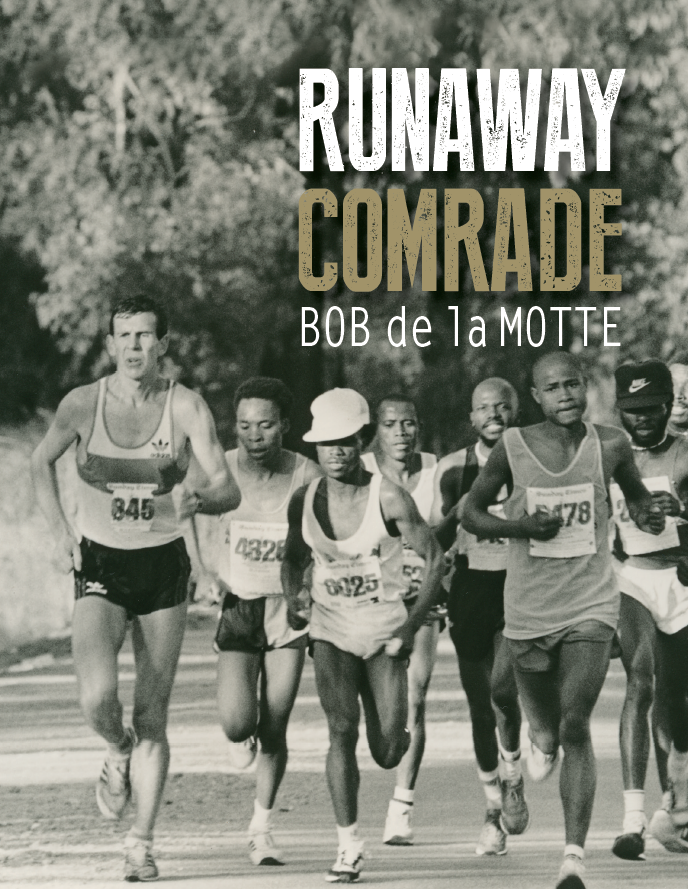 Front cover - JSE 50km ultramarathon August 1985 - jostling for gold medals after the marathon mark and in hot pursuit of race leader Sam Ndala. Gibeon Moshaba in white cap and Ben Cheou in black cap. Bob won in 2:50.45