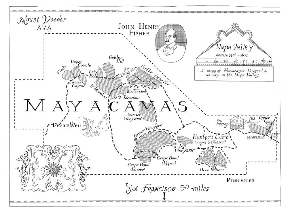 Map of Mayacamas Vineyard in Napa Valley. Made for 6' x 8' wall mounting, below.