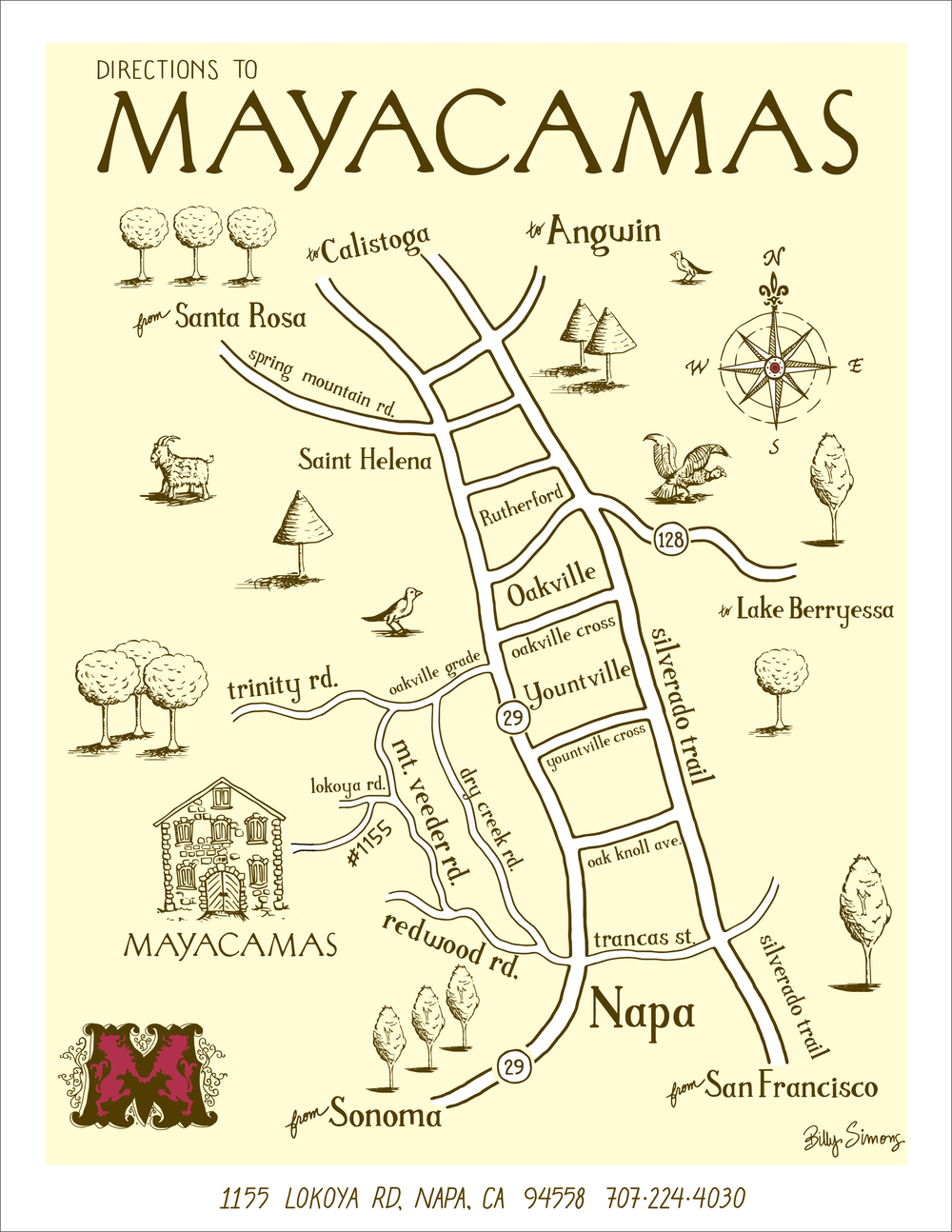Whimsical driving map for Mayacamas Vineyard & Winery