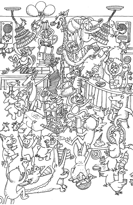 "Pen & ink Pigma micron .25mm  A commissioned design for a 1st Birthday party themed ""Party Animals"""