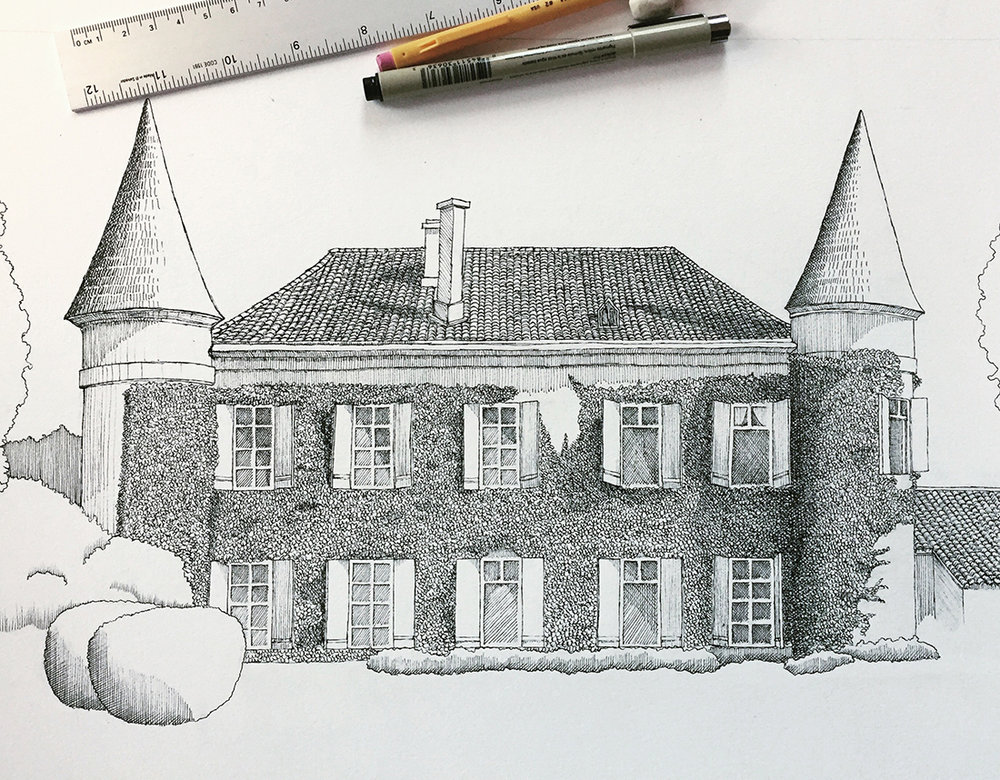 france home architecture portrait ink drawing.jpg