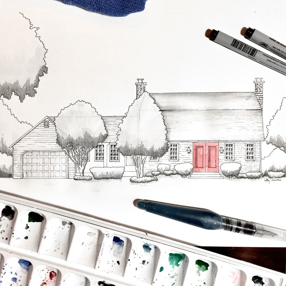 watercolor ink home drawing billy simons