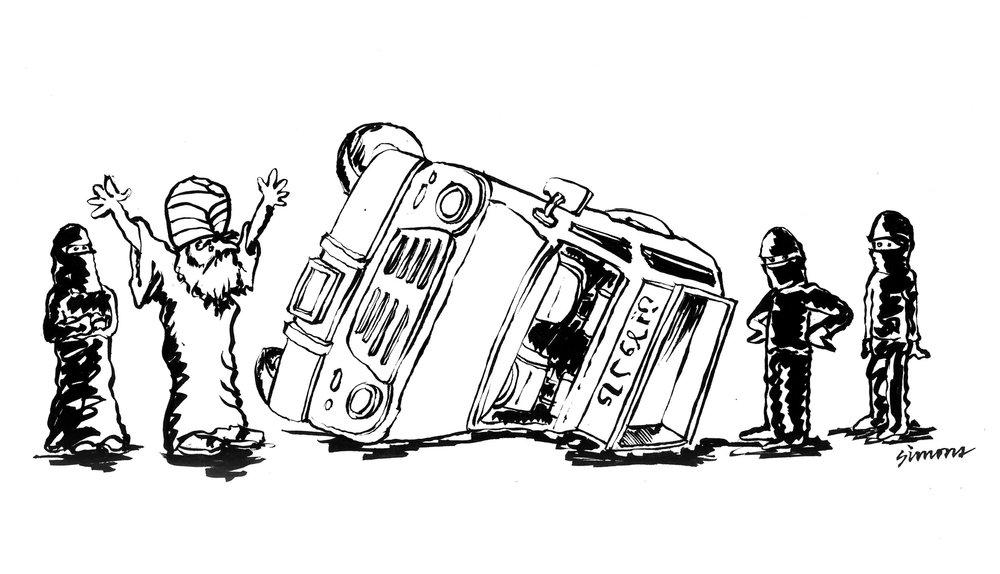 Muslim Van Overturned