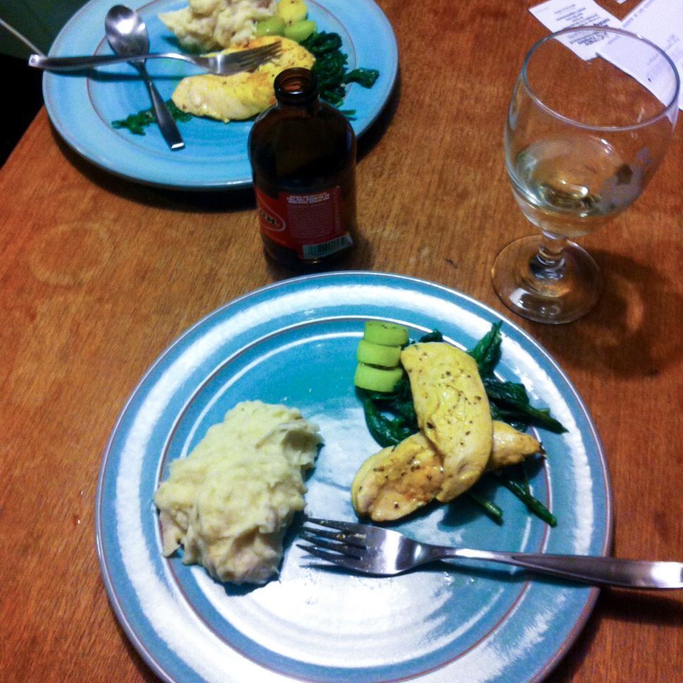 chicken, mrrshd prtatrrs, leeks, and sautéed turnip greens- with a little white wine and a Session beer, of course.
