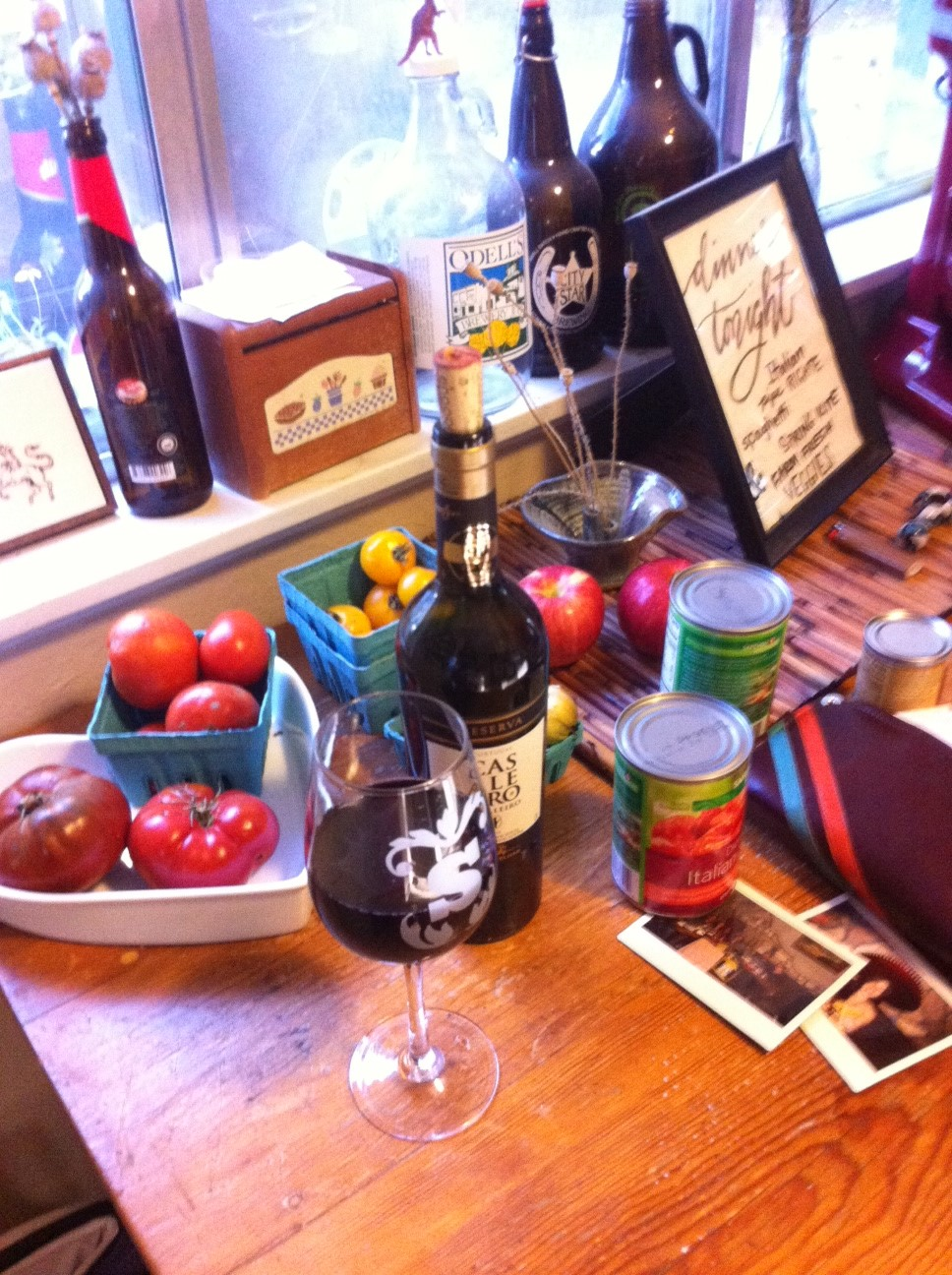delicious wine, food, friends, fall evening light, old kitchen tables from generations past