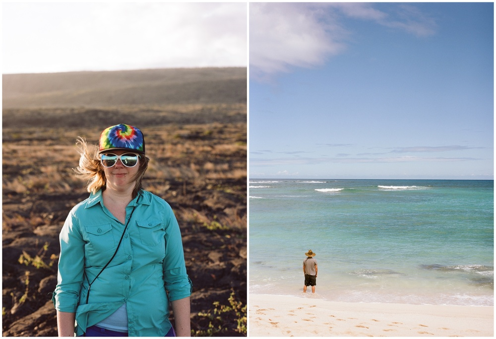Sonja on a lava flat and Max on a hidden beach on the Big Island of Hawaii. Film portraits by Sonja and Max Salzburg of Sonja K Photography.