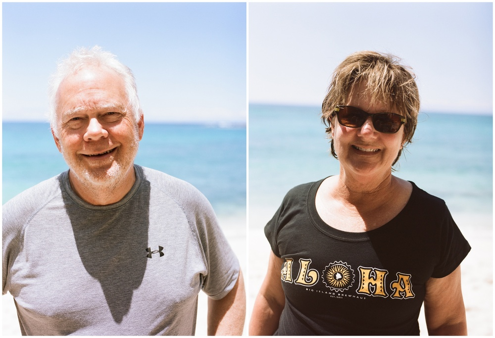 Peder and Ann Kruger on the beach in Hawaii. Film portraits by Sonja Salzburg of Sonja K Photography.