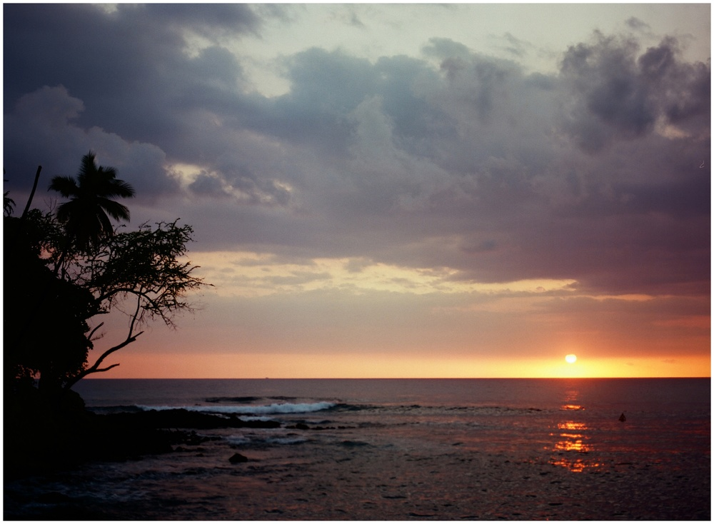 Kamoa Point, Hawaii at sunset. Film photography by Sonja Salzburg of Sonja K Photography.