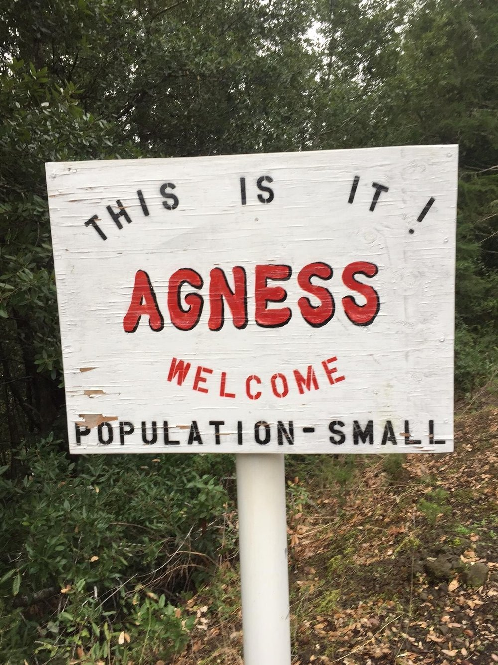 The small town of Agness, Oregon welcomes you. Photography by Max Salzburg of Sonja K Photography.