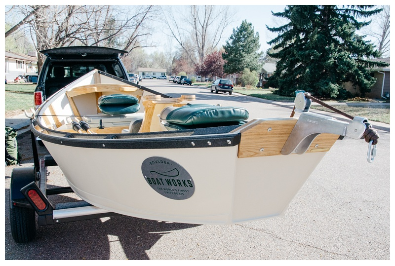 A brand new Boulder Boat Works drift boat gets ready for its first trip down the river. Outdoor fishing photography by Max Salzburg of Sonja K Photography.