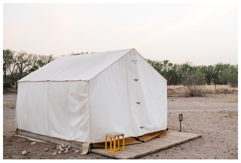 Our Sheridan Tent and Awning room at El Cosmico in Marfa, Texas. Travel photography by Sonja Salzburg of Sonja K Photography.