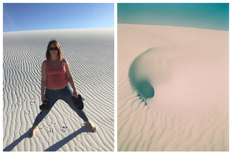 Sonja Salzburg at White Sands National Monument in New Mexico. Travel photography by Max and Sonja Salzburg of Sonja K Photography.