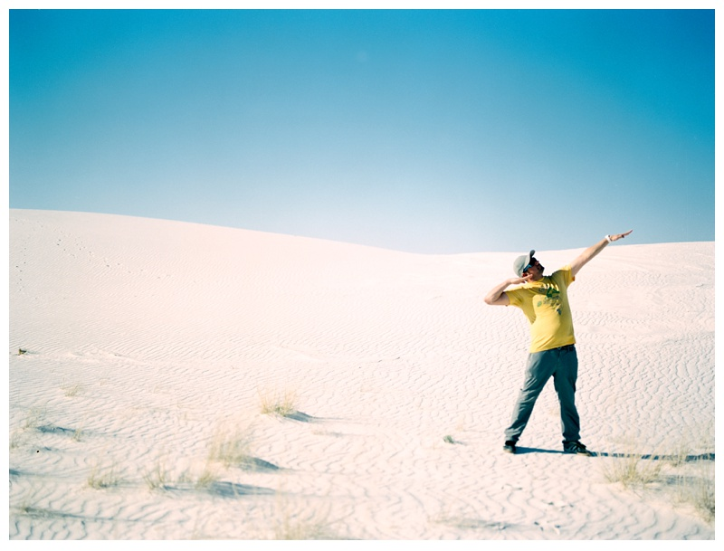 Max Salzburg at White Sands National Monument in New Mexico. Portrait and travel photography by Sonja Salzburg of Sonja K Photography.