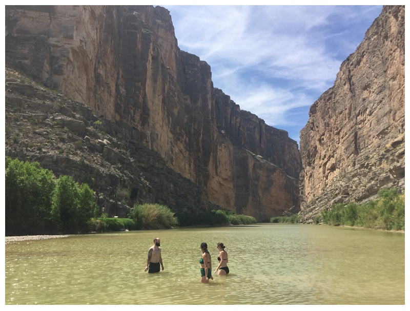 Swimming in the Rio Grande below Santa Elena Canyon in Big Bend National Park. Travel photography by Sonja Salzburg of Sonja K Photography.