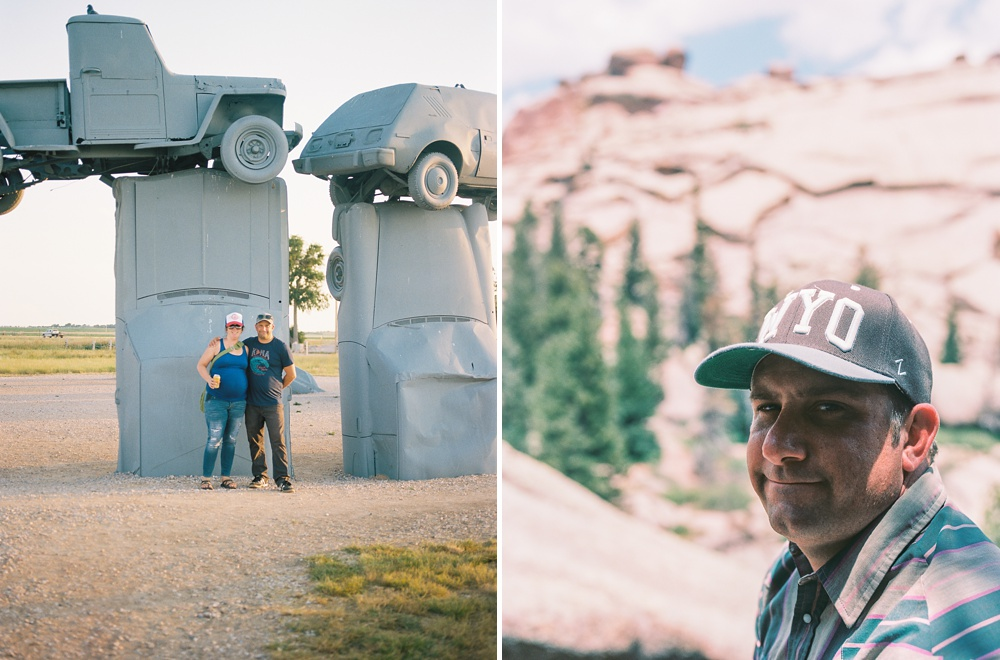 Left: Carhenge in Nebraska on our road trip out to Bemidji, MN  Right: Max in Vedauwoo, Wyoming