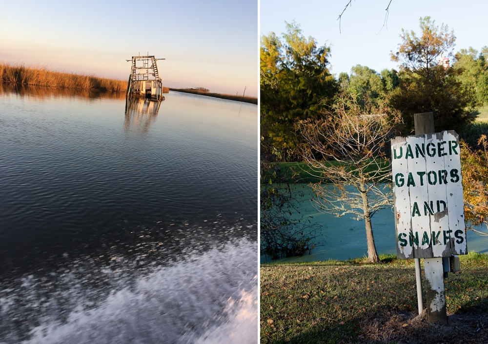 A sunken shrimp boat and a warning sign at Woodland Plantation in southern Louisiana. Fly fishing travel photography by Max Salzburg of Sonja K Photography.
