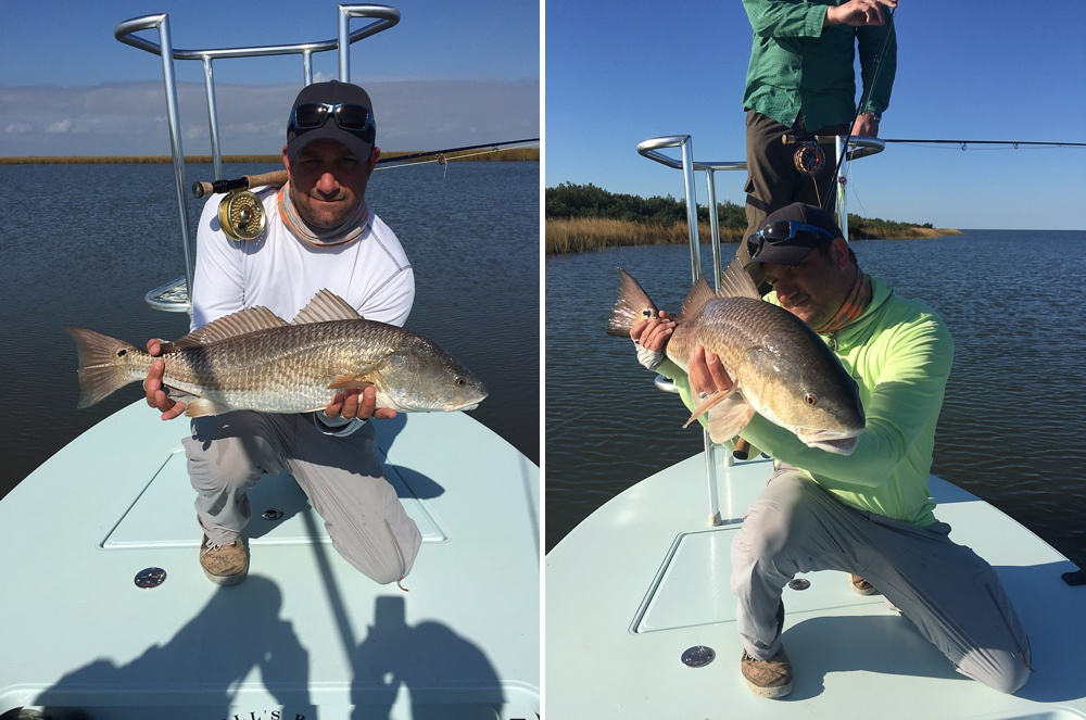 Max Salzburg with a couple of nice redfish caught on fly.