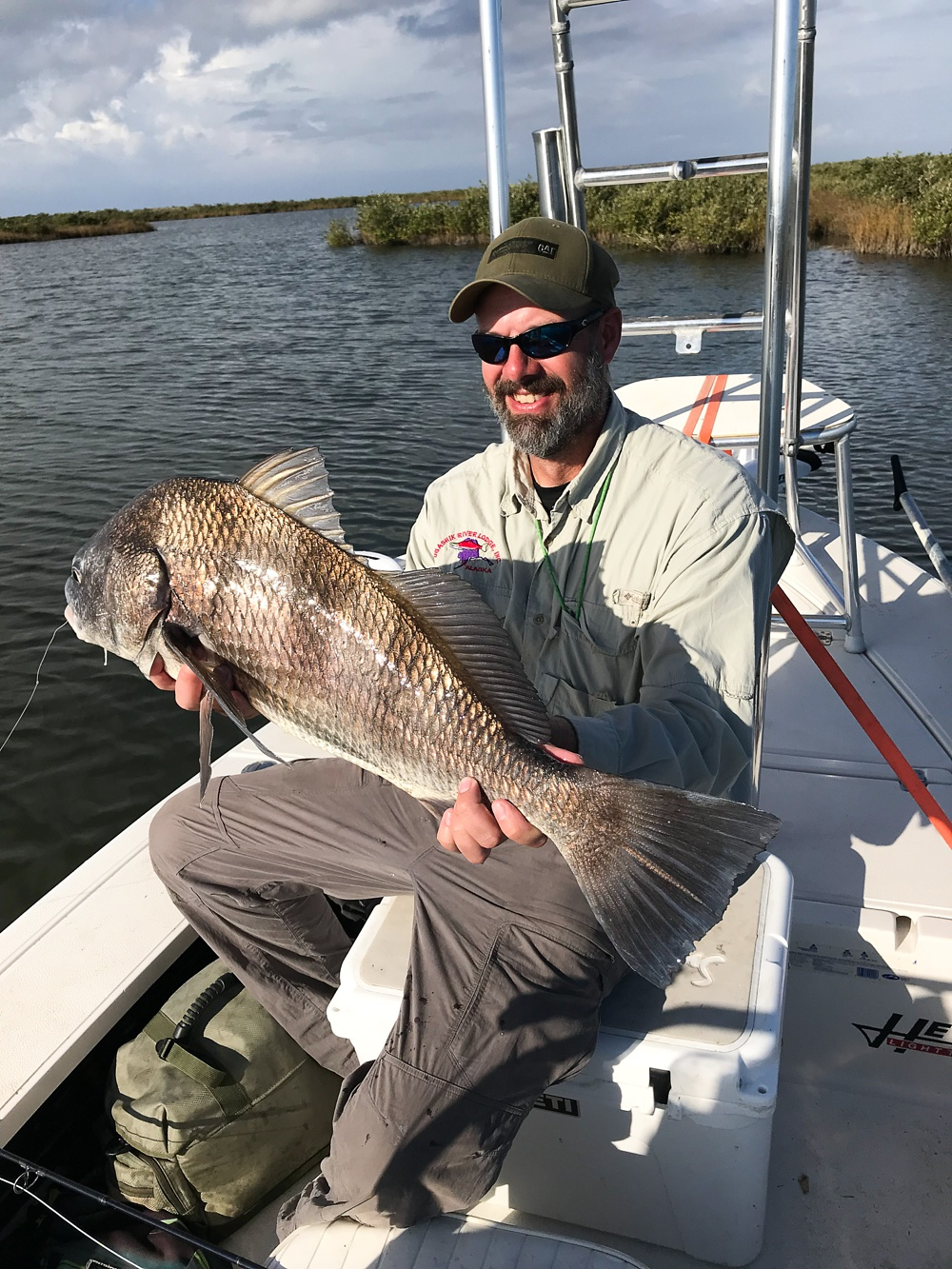 A large black drum caught in the Louisiana marshes near Port Sulphur.