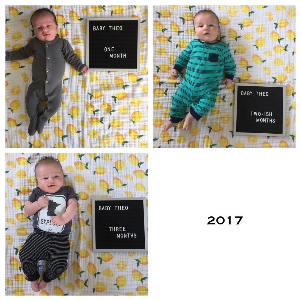 Our little one at one month, two months, and three months in 2017.