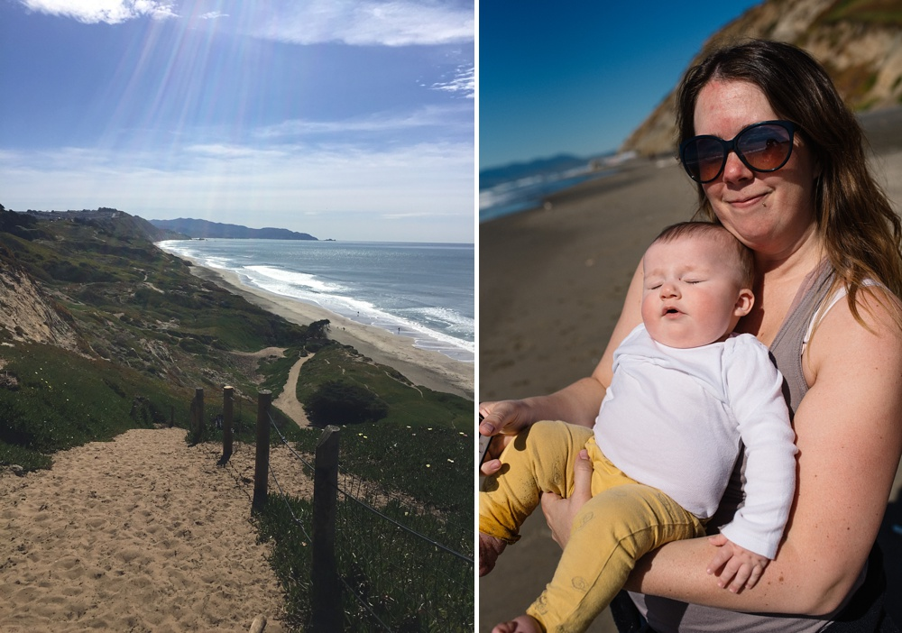 The path down to the beach at Fort Funston outside of San Francisco, California and Sonja and Theo on the beach. Family travel photography by Max Salzburg of Sonja K Photography.