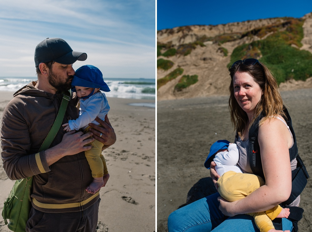 Sonja, Max, and Theo on the beach at Fort Funston outside of San Francisco, California. Travel family photography by Sonja and Max Salzburg of Sonja K Photography.