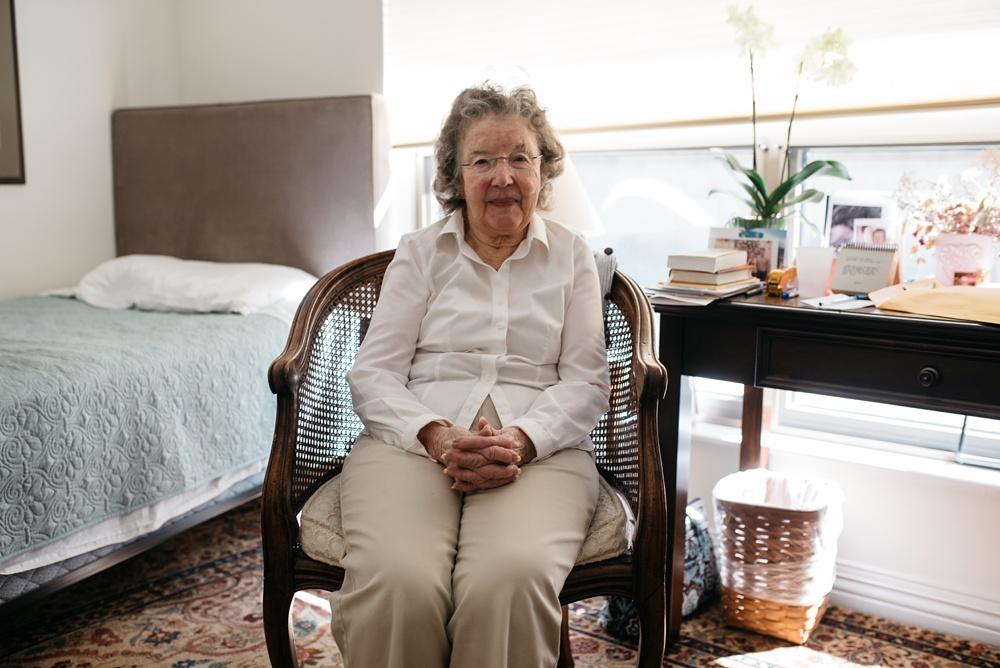 Sonja's grandmother in her apartment in Portola Valley, California. Family travel portrait photography by Sonja Salzburg of Sonja K Photography.
