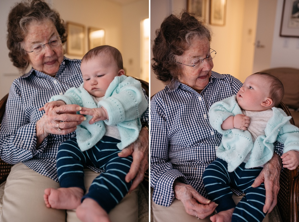 Theodore visits with his great grandmother at her apartment in Portola Valley, California. Family portrait photography by Sonja Salzburg of Sonja K Photography.