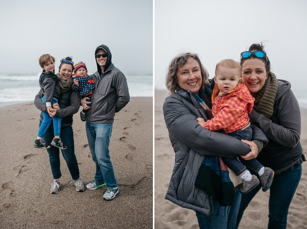 Family photos from the South Beach of Point Reyes National Seashore in California. Family travel portrait photography by Sonja Salzburg of Sonja K Photography.