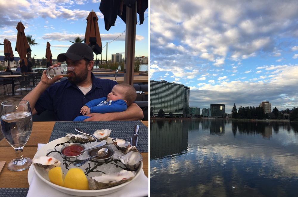Max and Theo have a beer and some oysters at the Lake Chalet on Lake Merritt in Oakland, California. Family travel photography by Sonja Salzburg of Sonja K Photography.