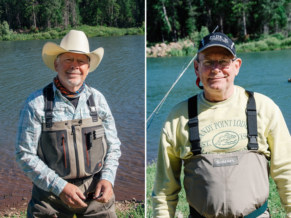 Two of the original FADE members at Henderson Springs Ranch in northern California. Fly fishing destination travel portrait photography by Max Salzburg of Sonja K Photography.