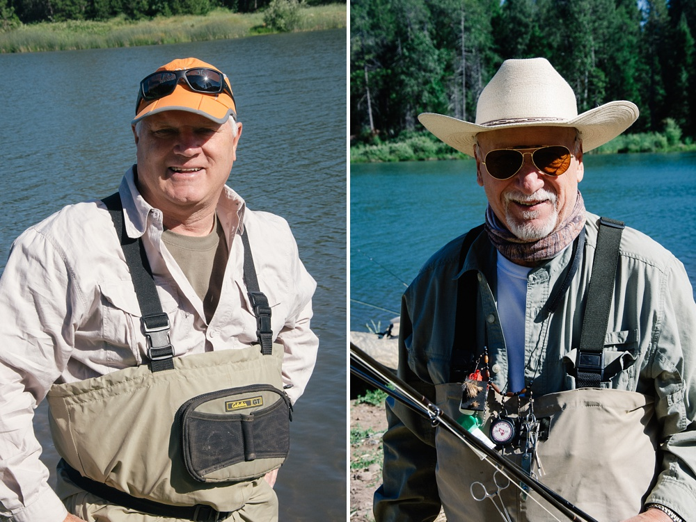 Two of the senior FADE participants at Henderson Springs Ranch in California. Fly fishing travel destination portrait photography by Max Salzburg of Sonja K Photography.