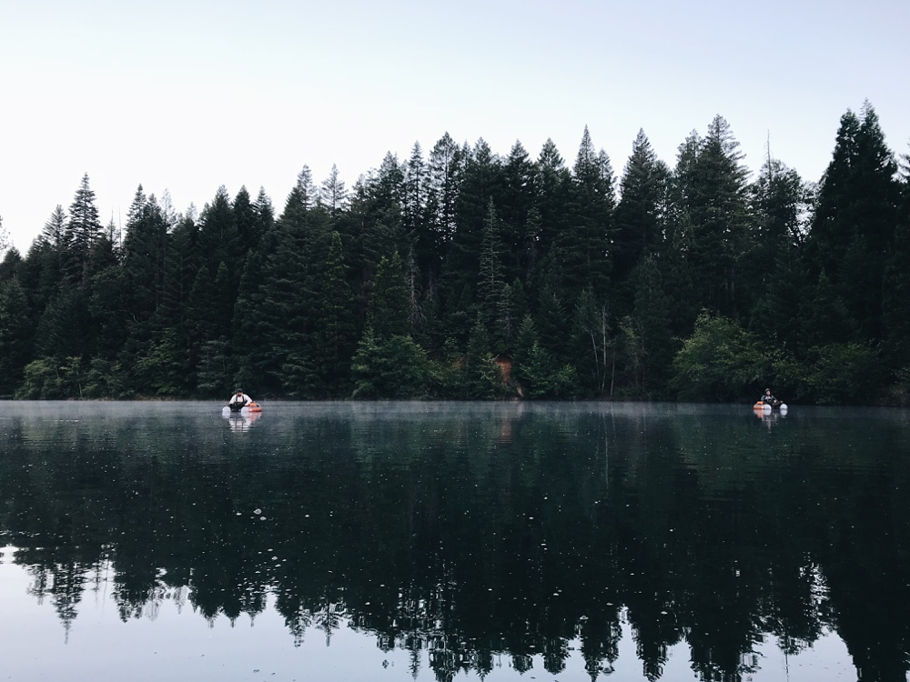 Early morning on Clear Lake at Henderson Springs Ranch in California. Fly fishing destination travel photography by Andy Carrasco of SC Films.