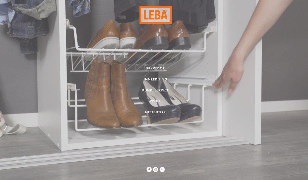 Nettside  www.leba.no    Design - Produktfoto - Integrasjon - Rådgivning   Kunde: LEBA AS