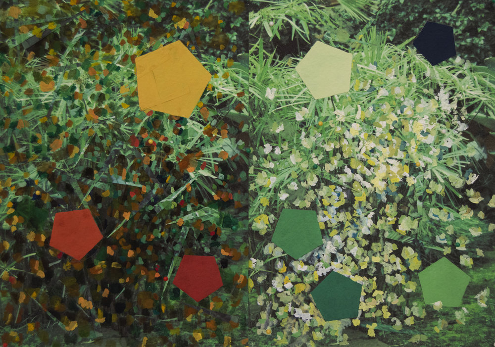 Para un mirlo y   2017, tempera, watercolour, map tacks, collage on printed paper, 29,5 cm x 42 cm (diptych).