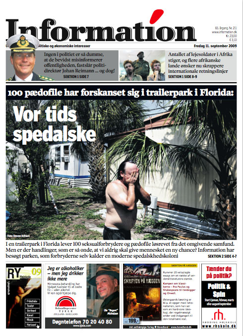Sexoffenders in Florida trailerpark on newspaper cover.