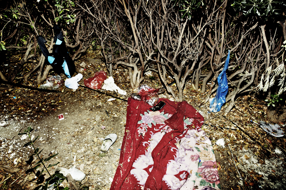 A person has used the space in the shrubbery for sleeping. Alexandra Park, Athen's largest public park refugee boys live side by side with pedophile men, drug addicts and teenage boys who sell themselves for a euro.