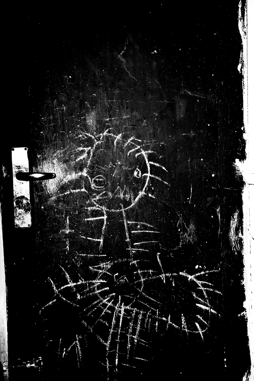 The door to the backstairs   Michelle Forchhammer''s son drew an ostrich in white chalk on the door, before he moved out of his childhood home. Today, he is grown up, but the drawing is still there. Every horizontal surface in the little home is occupied with objects - figurines, a ceramic crow, and a sword that belonged to the little boy.