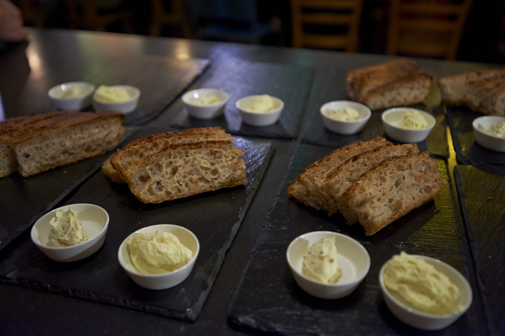 Sourdough bread with local Mühlerama flour, homemade bone marrow and mustard butter