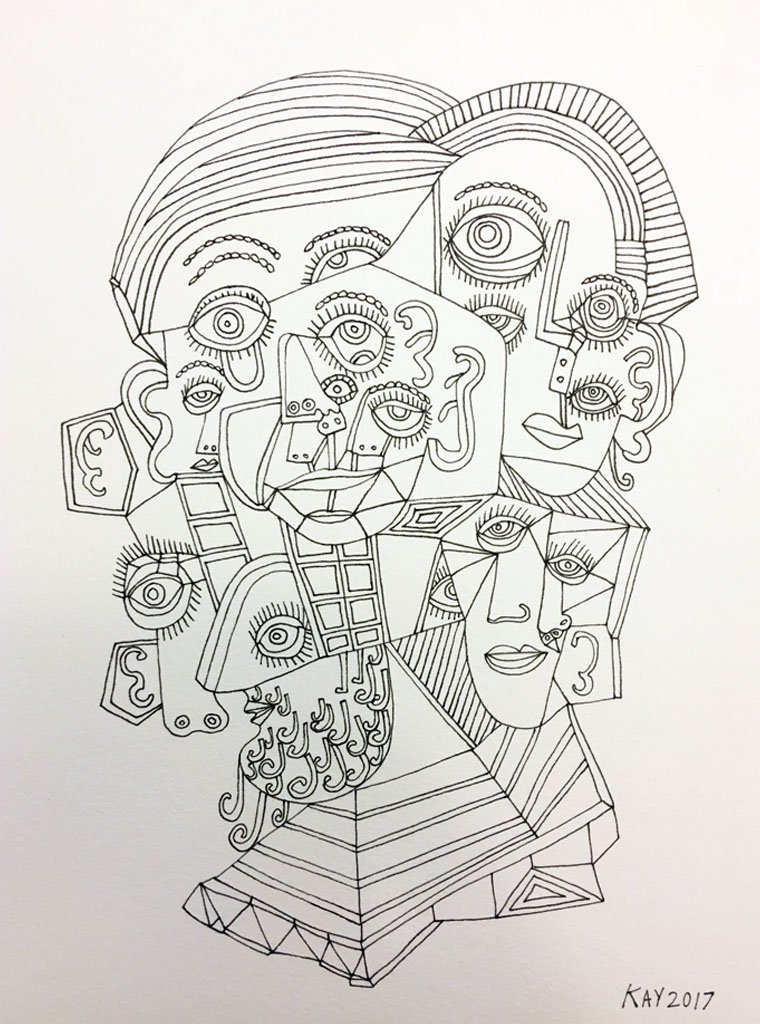 INK DRAWING 14 - WILL KAY$350This drawing is from my focus on heads and faces. Scale is important, even abstractly.6
