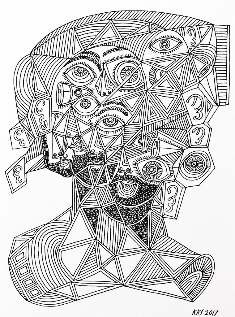 INK DRAWING 27 - WILL KAY$350This drawing is from my focus on heads and faces. Scale is important, even abstractly.description: 6