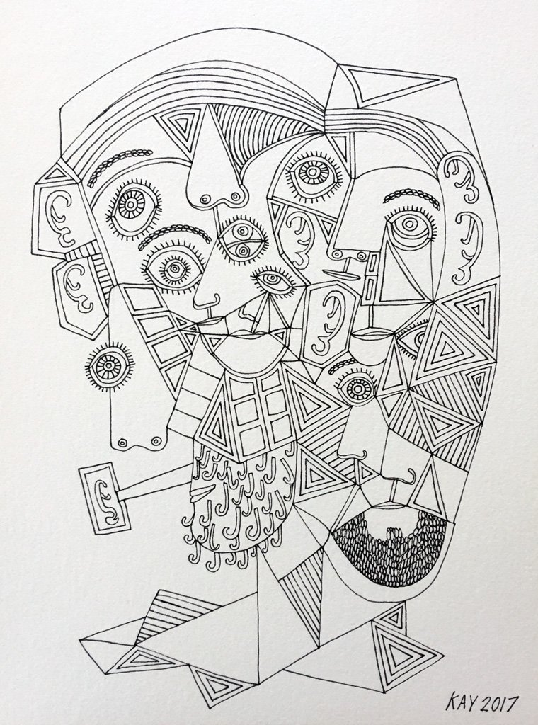 INK DRAWING 39 - WILL KAY$350This drawing is from my focus on heads and faces. Scale is important, even abstractly.description: 6